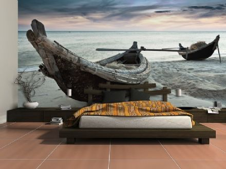 Wall mural wallpaper Boats on the beach